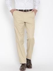 Van Heusen Men Beige Solid Custom Fit Flat-Front Formal Trousers