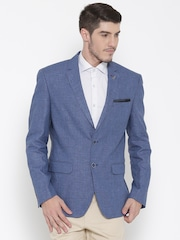 Van Heusen Blue Linen Patterned Single-Breasted Slim Casual Blazer