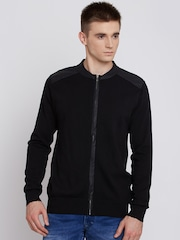 Flying Machine Men Black Solid Cardigan