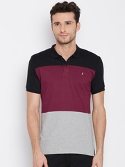 John Players Men Black & Grey Melange Colourblocked Polo Collar T-shirt