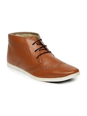 Knotty Derby Men Brown Perforated Mid-Top Brogues
