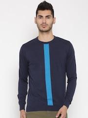 Wills Lifestyle Men Navy Solid Sweater