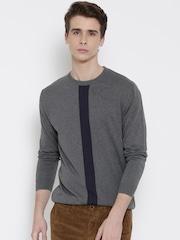Wills Lifestyle Men Grey Melange Sweater