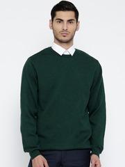 Wills Lifestyle Men Green Patterned Woollen Sweater