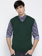Wills Lifestyle Men Green Solid Sleeveless Sweater