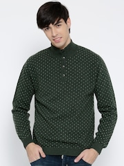 Wills Lifestyle Men Green Patterned Sweater