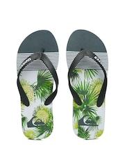 Quiksilver Men Charocaol Grey & Green Tropical Print Flip-Flops