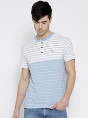 Tommy Hilfiger Men Blue & White Striped Henley Neck T-shirt