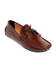 bacca bucci Men Brown Textured Driving Shoes