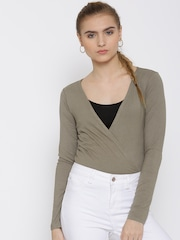 FOREVER 21 Taupe Self-Striped Bodysuit