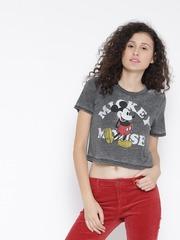 FOREVER 21 Women Grey Melange Printed Round Neck T-shirt