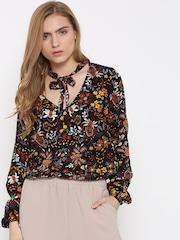 FOREVER 21 Black Floral Print Bodysuit