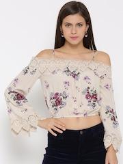 FOREVER 21 Women Beige Printed Cold Shoulder Crop Top