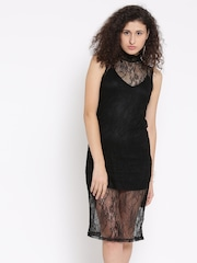 FOREVER 21 Women Black Lace Sheath Dress
