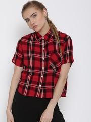 FOREVER 21 Women Red & Black Checked Shirt