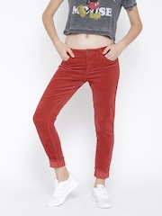 FOREVER 21 Women Brick Red Solid Corduroy Casual Trousers