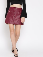 FOREVER 21 Maroon Faux Leather A-Line Mini Skirt