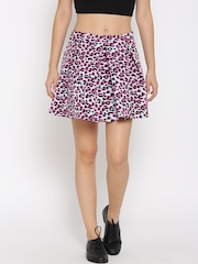 FOREVER 21 Blue & Pink Animal Print Pleated Skirt