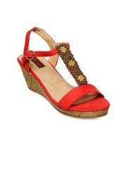 Flat n Heels Women Red Solid Wedges