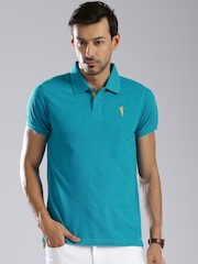 Bossini Men Blue Solid Polo Collar T-shirt