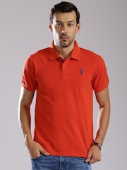 Bossini Men Orange Solid Polo Collar T-shirt