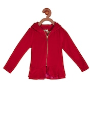 Cherry Crumble Girls Red Hooded Sweater