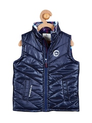 Cherry Crumble Girls Blue Puffer Jacket