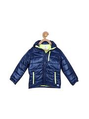 Cherry Crumble Girls Blue Hooded Puffer Jacket