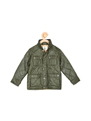 Cherry Crumble Girls Olive Green Quilted Jacket