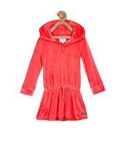 Cherry Crumble Girls Red Hooded Drop-waist Dress