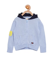 Cherry Crumble Girls Blue Hooded Sweater