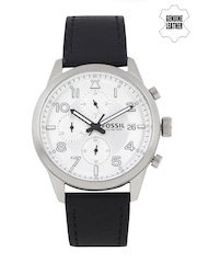 Fossil Men Silver-Toned Chronograph Watch FS5136