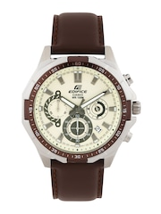 CASIO Edifice Men Cream-Coloured Chronograph Dial Watch EX340