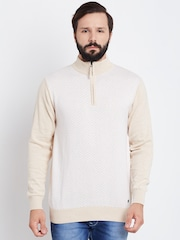 Blackberrys Men Beige & Off-White Self-Design Sweater