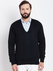 Blackberrys Men Black Cable Knit Sweater