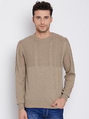 Blackberrys Men Beige Patterned Sweater