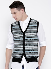 Blackberrys Men Black Patterned Sleeveless Cardigan