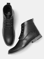 Roadster Men Black Solid High-Top Flat Boots