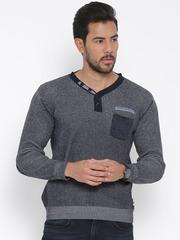 Monte Carlo Men Navy & Grey Patterned Sweater