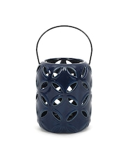 Athome by Nilkamal Blue Hanging Candle Holder with Cut-Out Detail