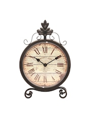 Athome by Nilkamal Beige Dial Analogue Vintage Roman Table Clock