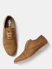 Roadster Men Tan Brown Solid Oxfords