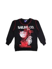SWEET ANGEL Boys Black Printed Pullover Sweatshirt