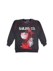 SWEET ANGEL Boys Grey Melange Printed Pullover Sweatshirt