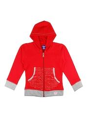 SWEET ANGEL Girls Red Solid Front Open Sweatshirt