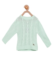 Cherry Crumble Girls Sea Green Solid Sweater