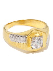 Sukkhi Men Gold & Rhodium-Plated Solitaire CZ Stone-Studded Ring