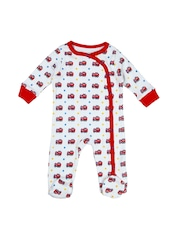 Beebay Boys White & Red Printed Sleepsuit