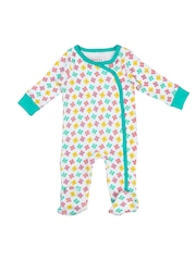 Beebay Girls White & Sea Green Printed Sleepsuit