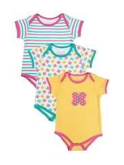 Beebay Girls Pack of 3 Printed Bodysuits